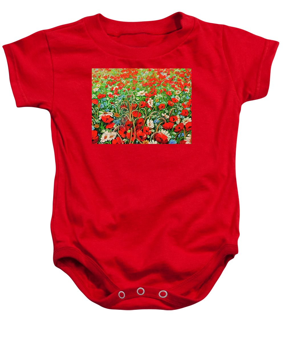 Floral Painting Flower Painting Red Poppies Painting Daisy Painting Field Poppies Painting Field Poppies Floral Flowers Wild Botanical Painting Red Painting Greeting Card Painting Baby Onesie featuring the painting Poppies In The Wild by Karin Dawn Kelshall- Best