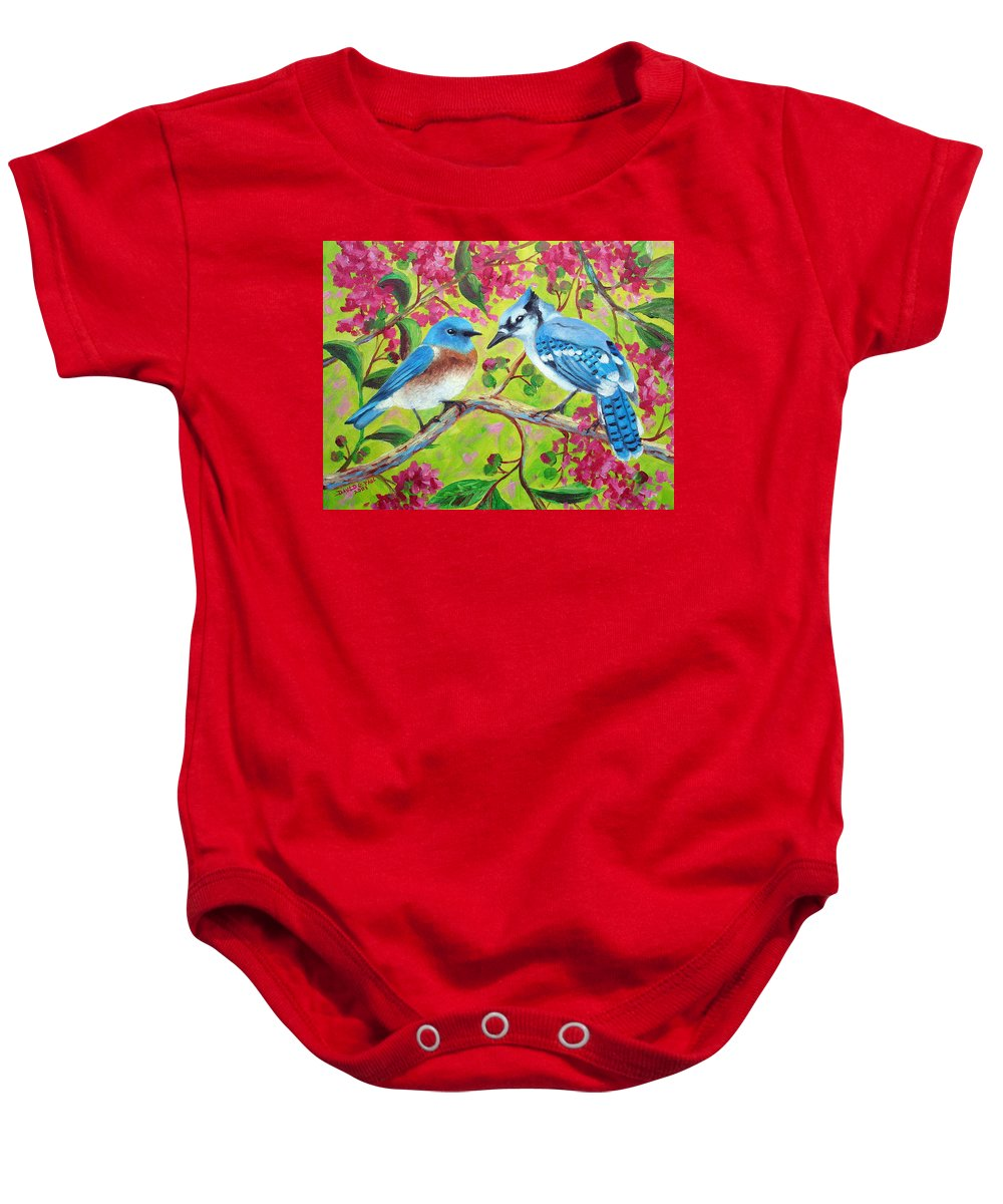Birds Baby Onesie featuring the painting Sharing A Branch by David G Paul