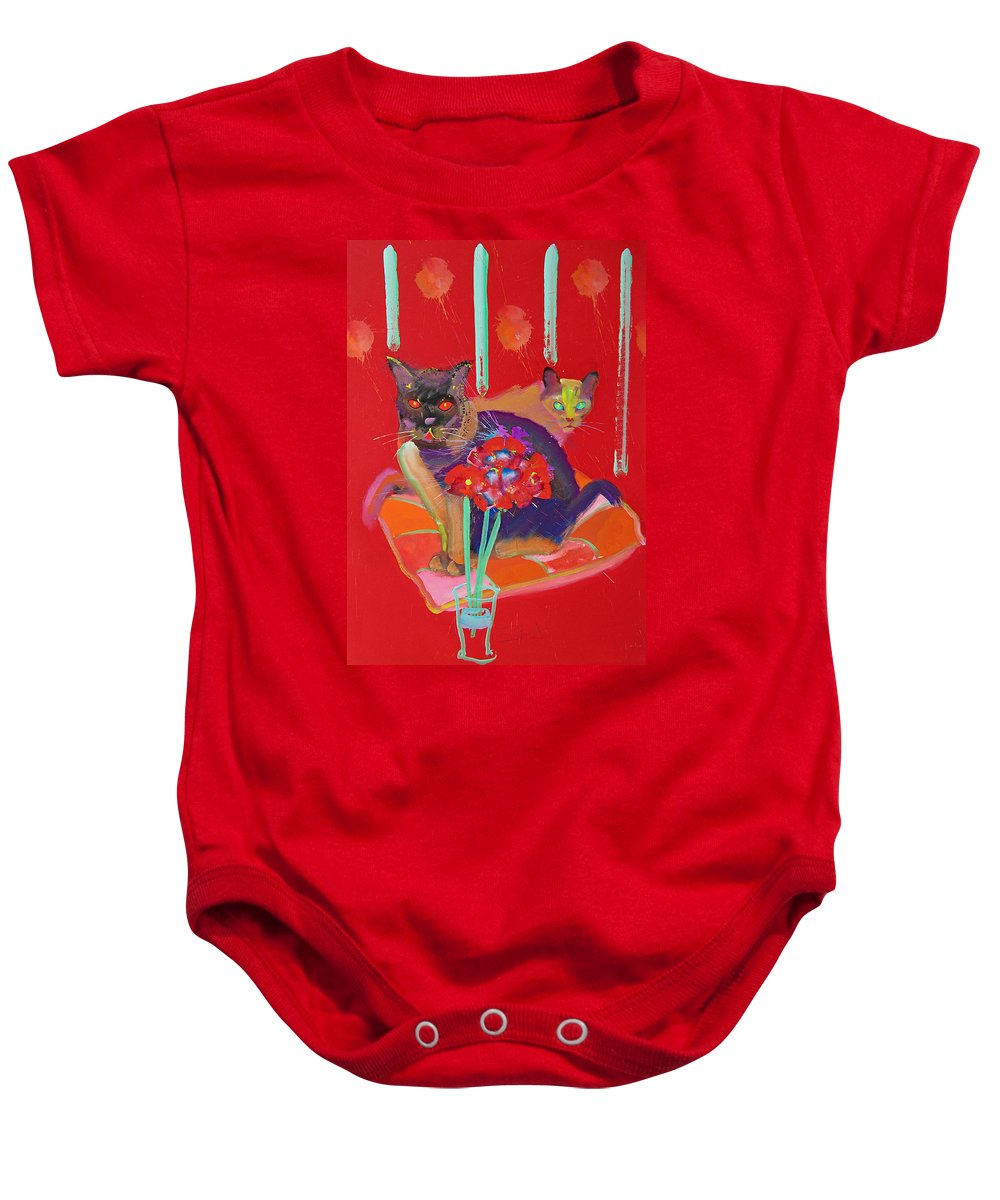 Burmese Cat Baby Onesie featuring the painting Symphony In Red Two by Charles Stuart