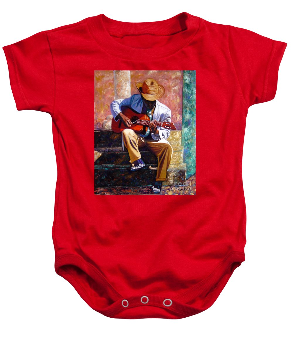 Cuban Art Baby Onesie featuring the painting The Guitar Player by Jose Manuel Abraham
