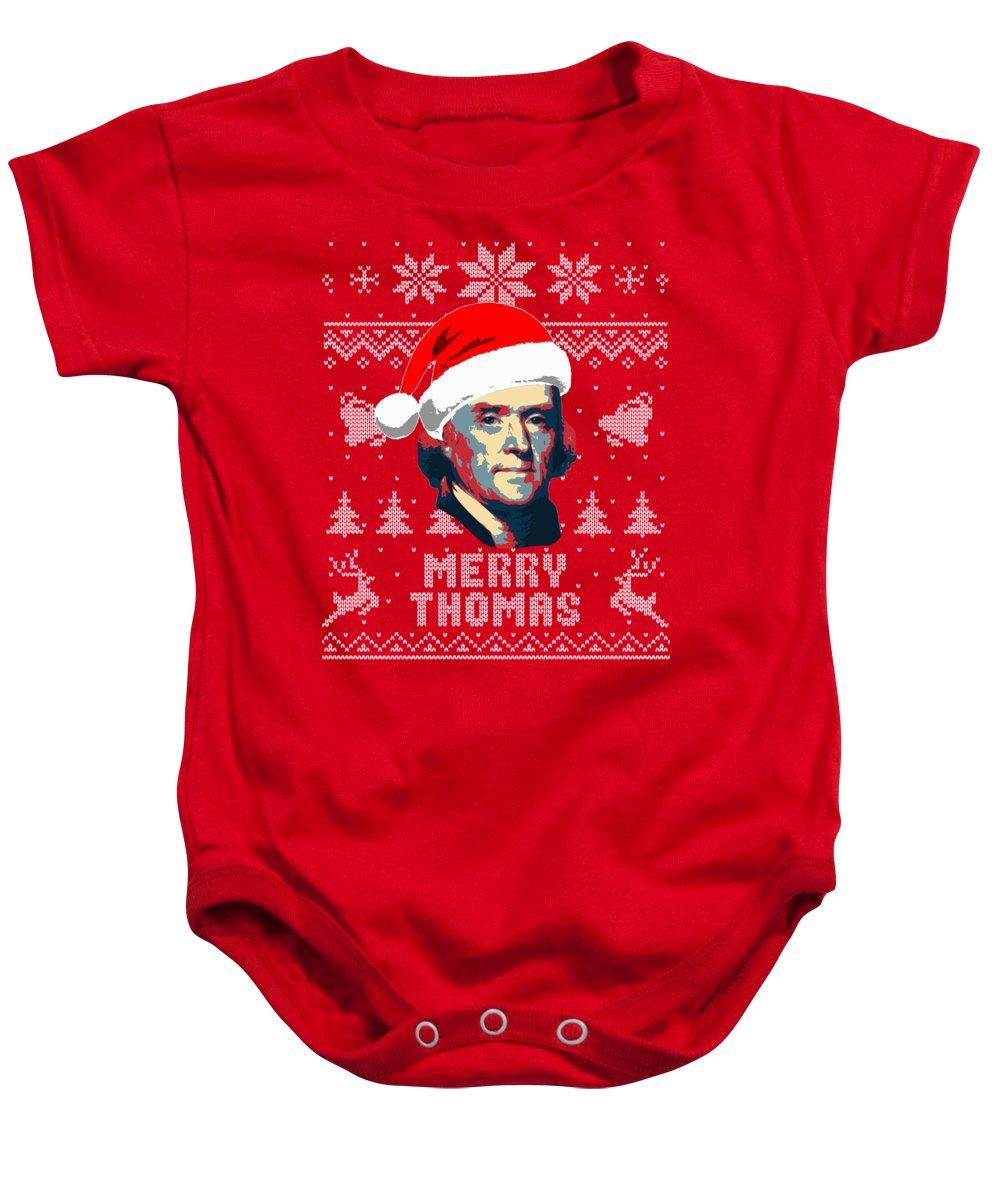 Santa Baby Onesie featuring the digital art Thomas Jefferson Merry Thomas by Filip Schpindel