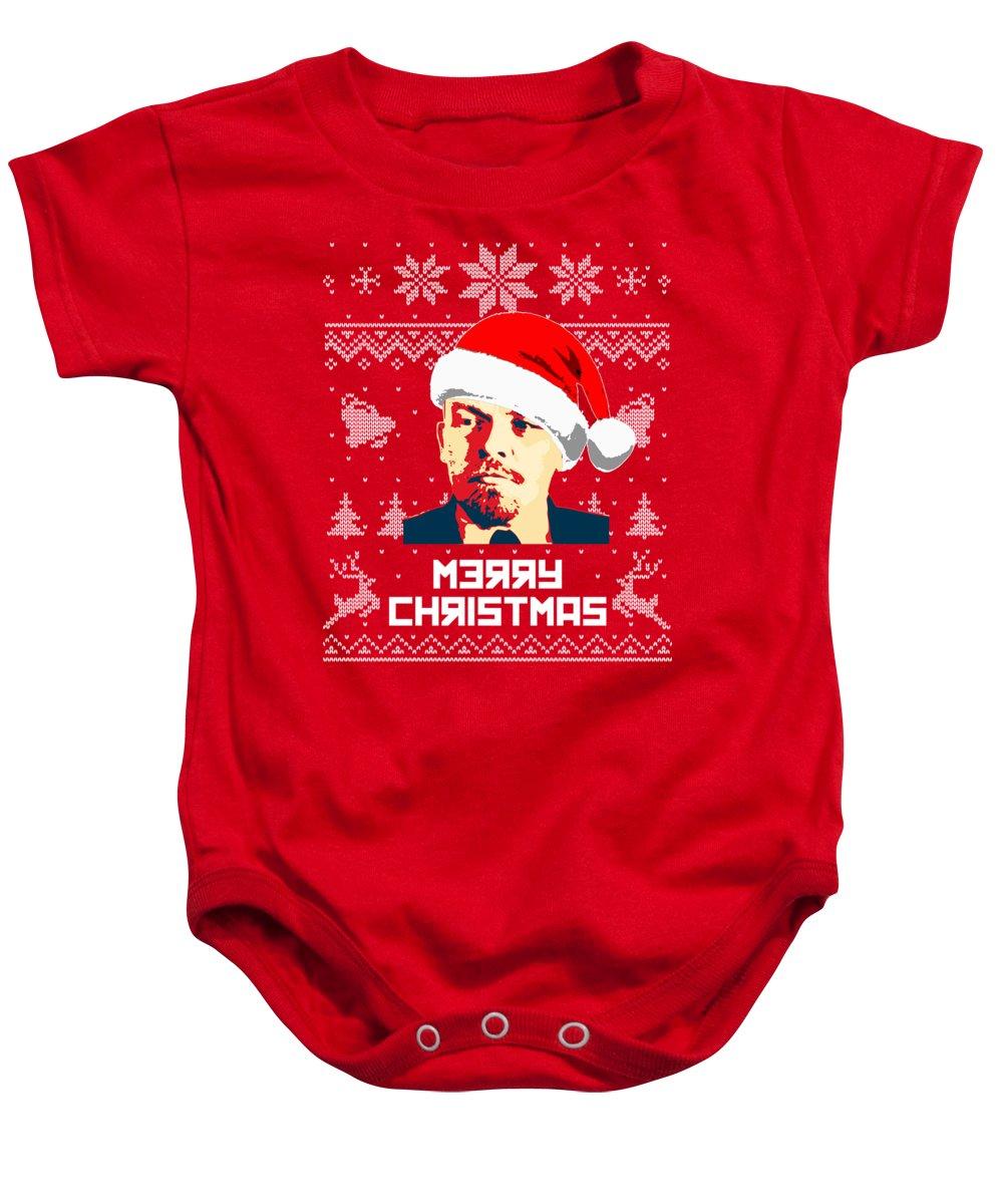 Russia Baby Onesie featuring the digital art Vladimir Lenin Merry Christmas by Filip Schpindel