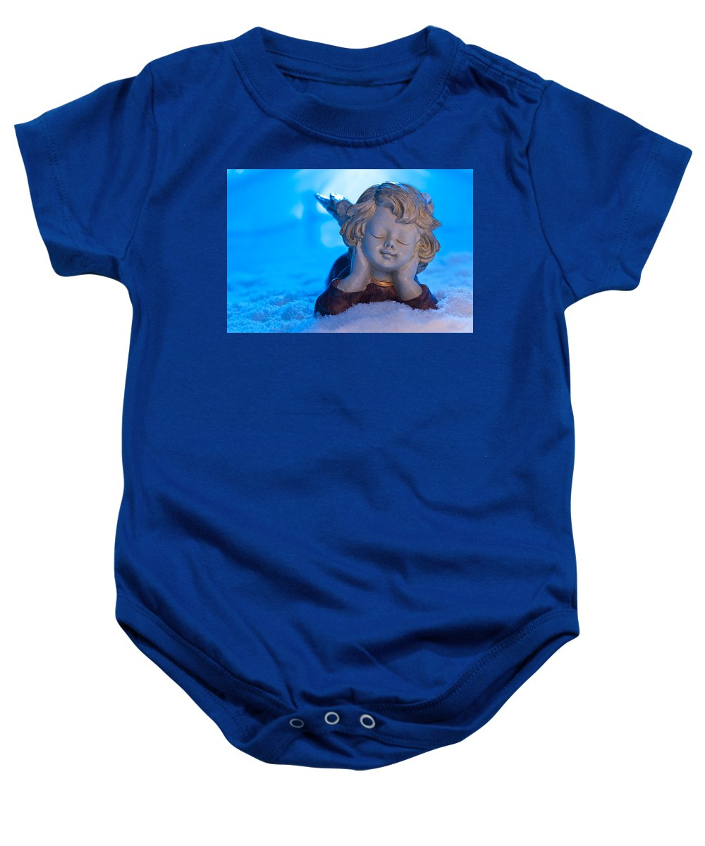 Adorable Baby Onesie featuring the photograph Angel In Snow by U Schade