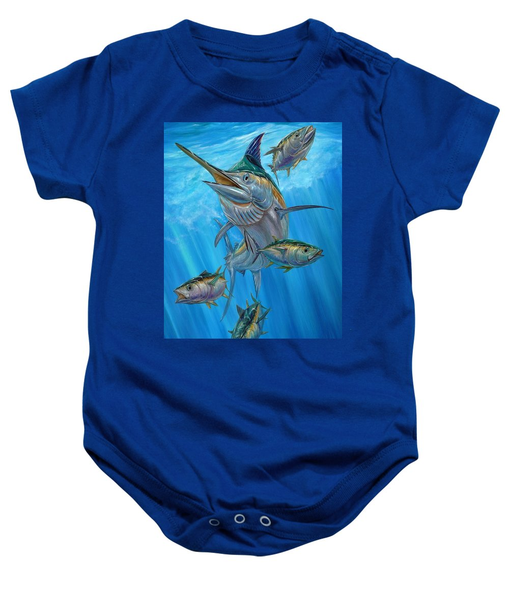 Black Marlin Baby Onesie featuring the painting Black Marlin And Albacore by Terry Fox