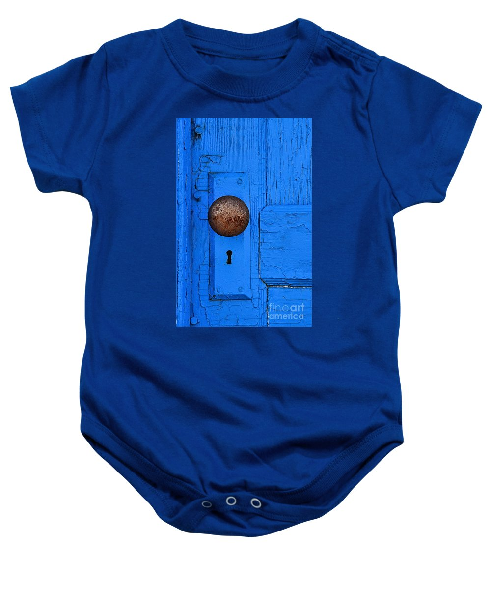 Abstract Baby Onesie featuring the photograph Blue Door by Lauren Leigh Hunter Fine Art Photography