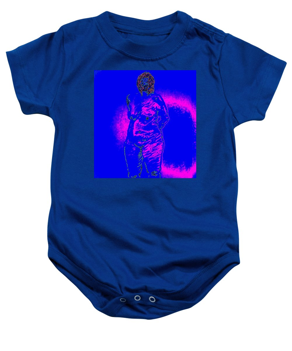 Genio Baby Onesie featuring the mixed media Croquis In Blue by Genio GgXpress