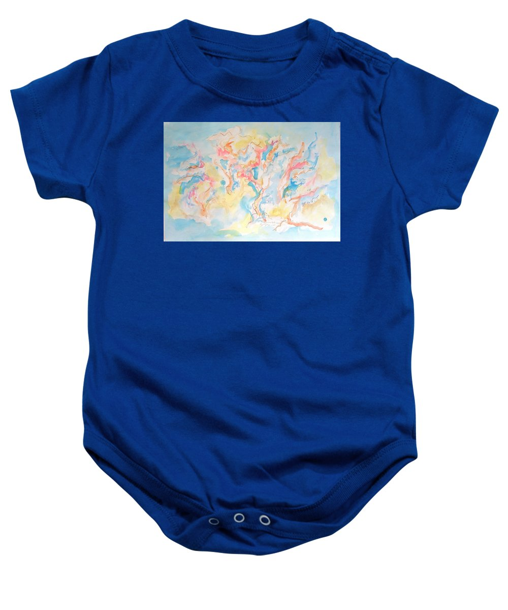 Dance Baby Onesie featuring the painting Dance Of Olive Trees by Esther Newman-Cohen