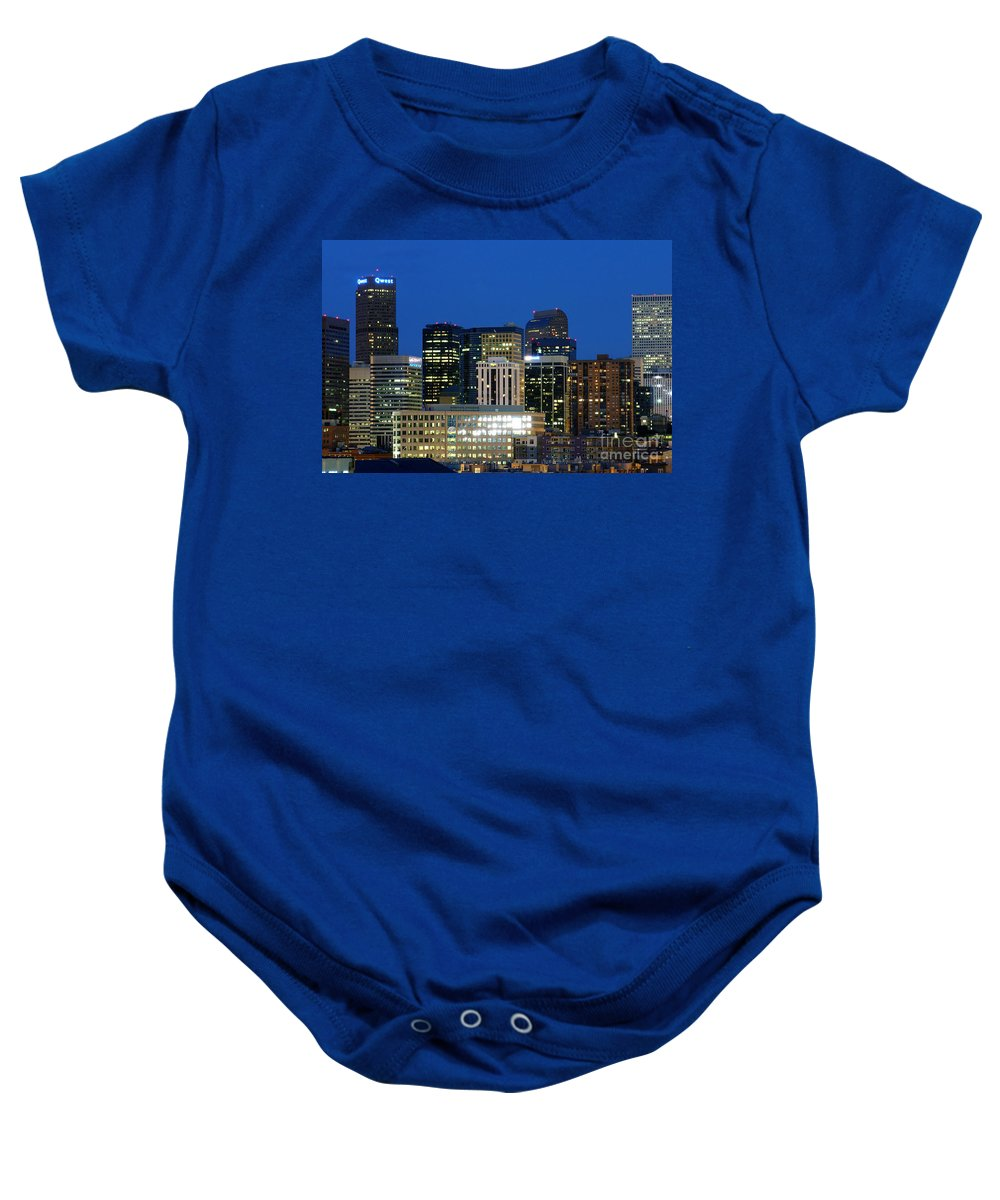 Colorado Baby Onesie featuring the photograph Downtown Denver At Dusk by Bill Cobb