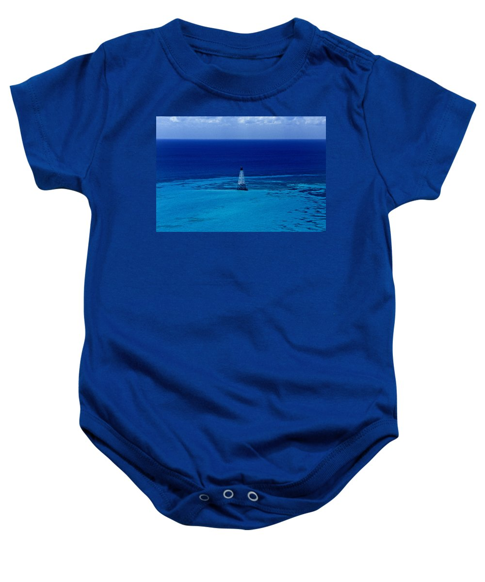 Fl Baby Onesie featuring the photograph Fowery Rocks Lighthouse by Skip Willits