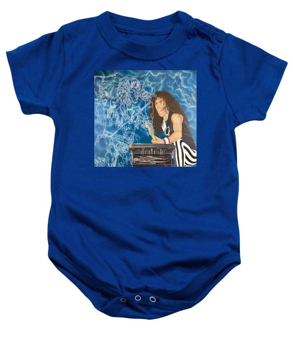 Steve Harris Baby Onesie featuring the painting Iron Maiden by Sue Brehm