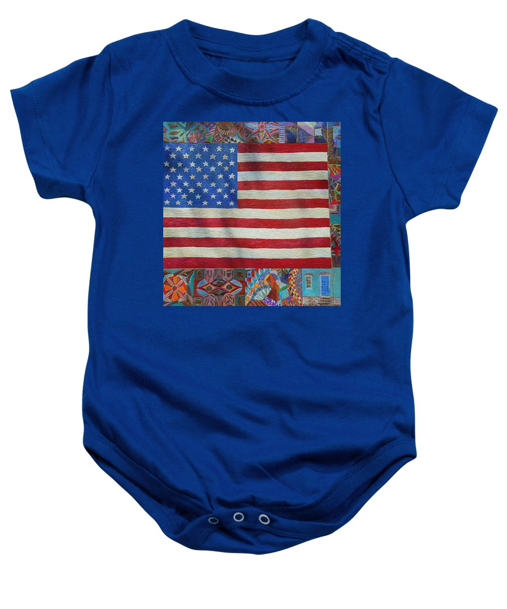 United States Flag; U.s. Flag; Stars And Stripes; Stars & Stripes; Chicano Art; Southwest; Southwest Art; U.s.a.; America; Baby Onesie featuring the painting Mi Flag by Jose Robles