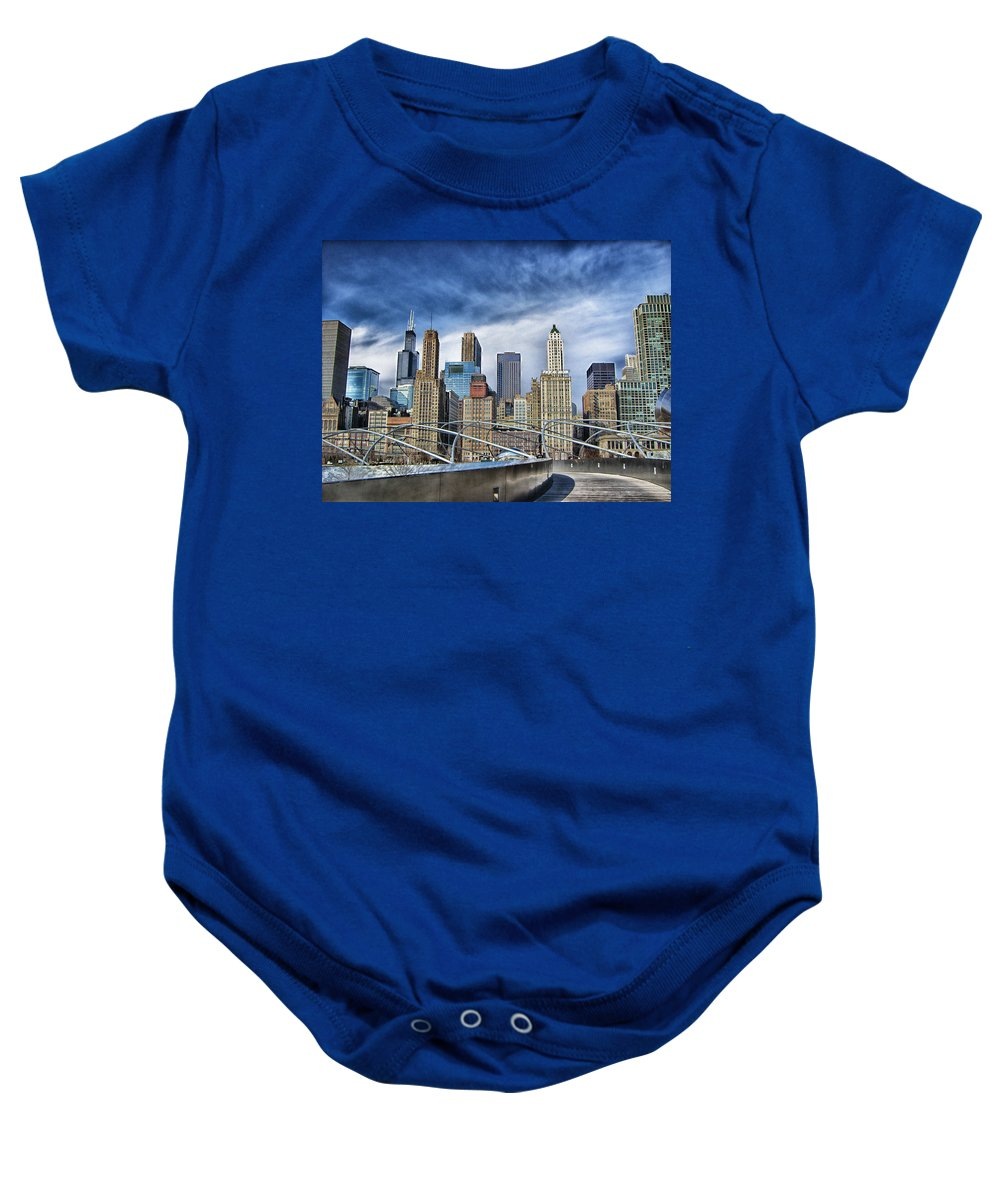 Chicago Baby Onesie featuring the photograph Millennium Skyline by Brian Kerls