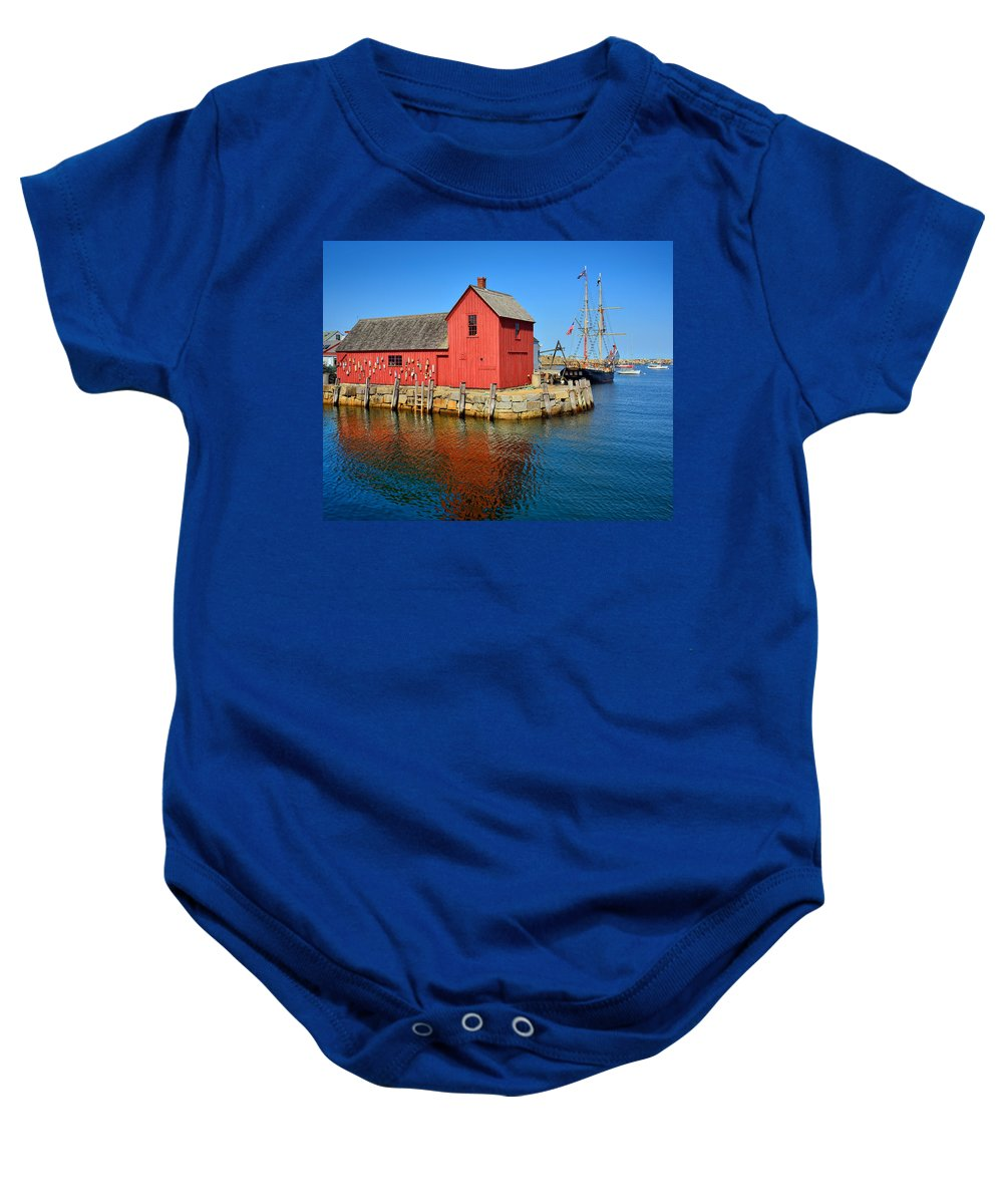 Rockport Baby Onesie featuring the photograph Motif Number One Rockport Lobster Shack Maritime by Jon Holiday