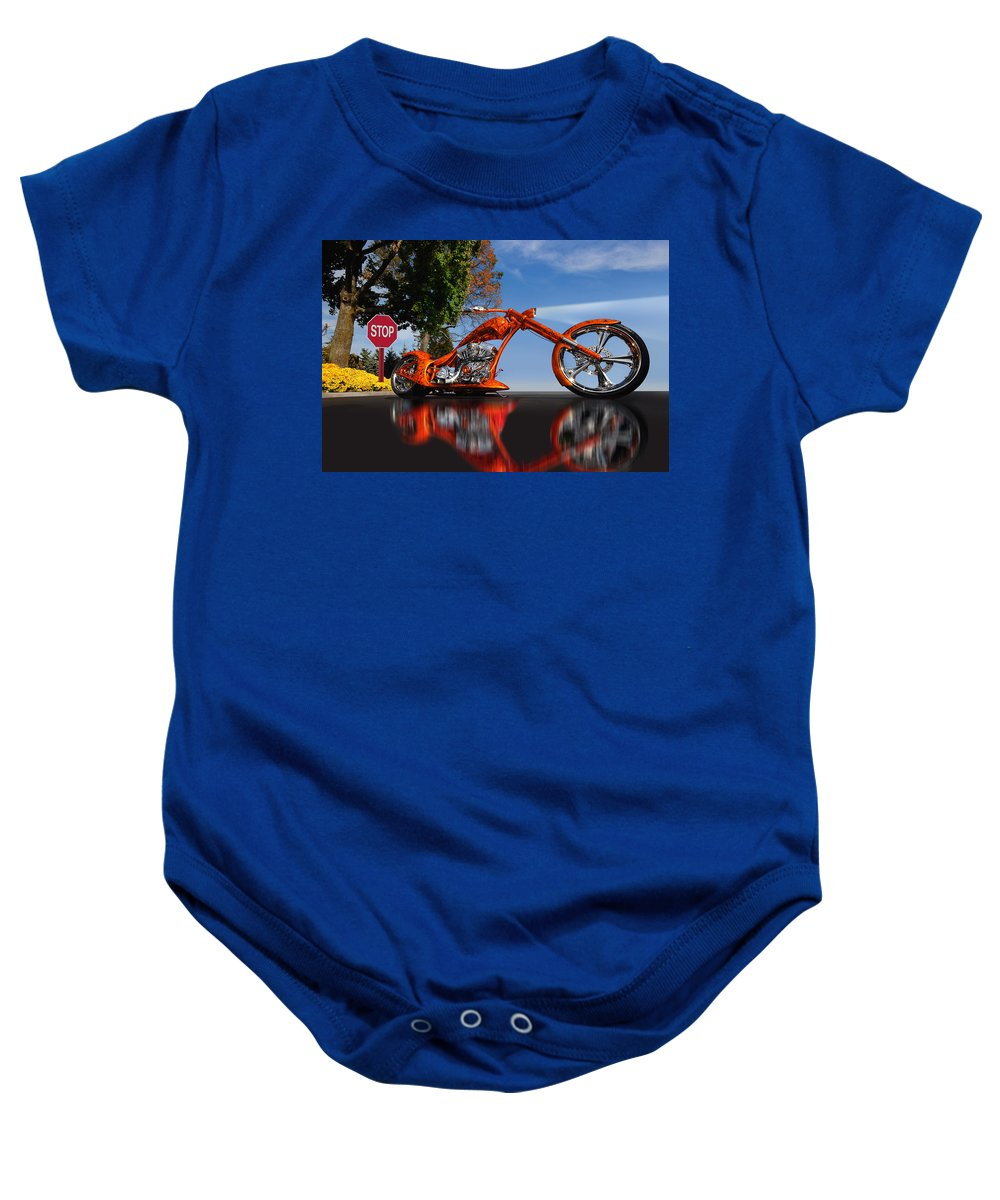 Custom Motorcycle Baby Onesie featuring the photograph Motorcycle Reflections by Joseph LaPlaca