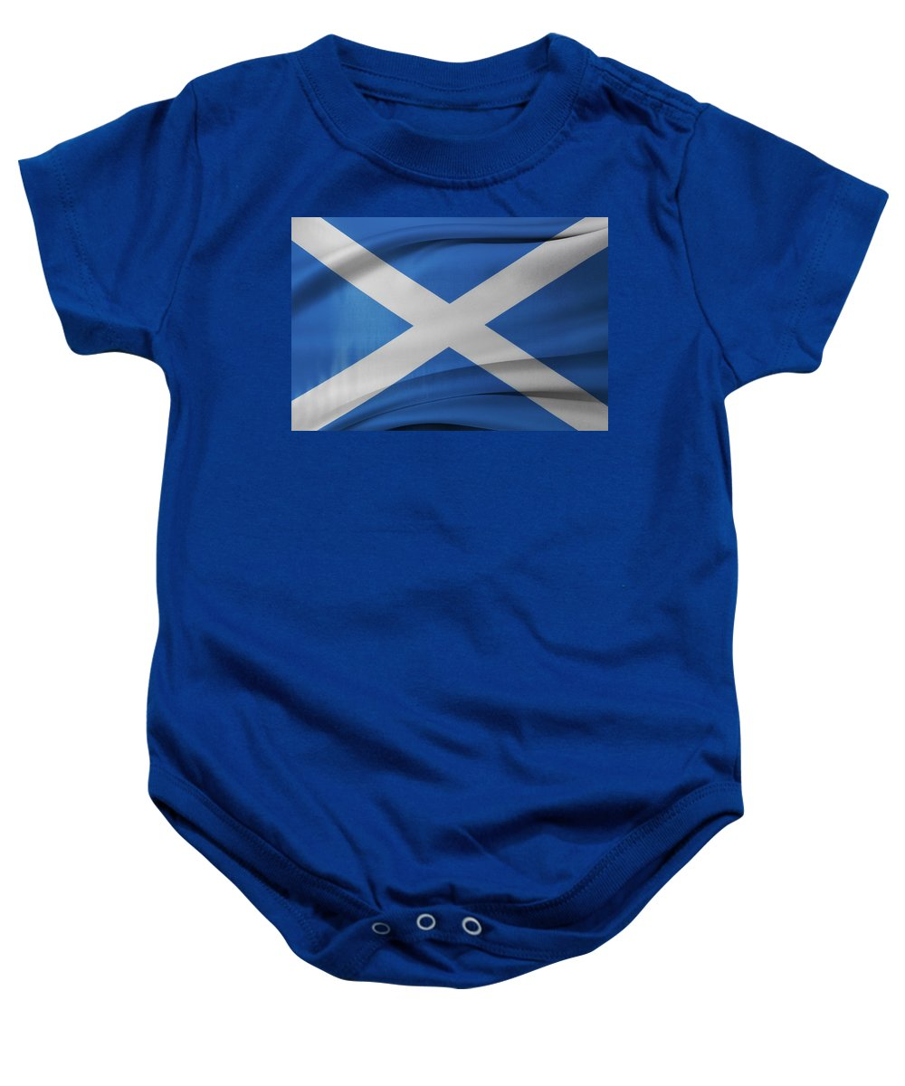 Background Baby Onesie featuring the photograph Scottish Flag by Les Cunliffe