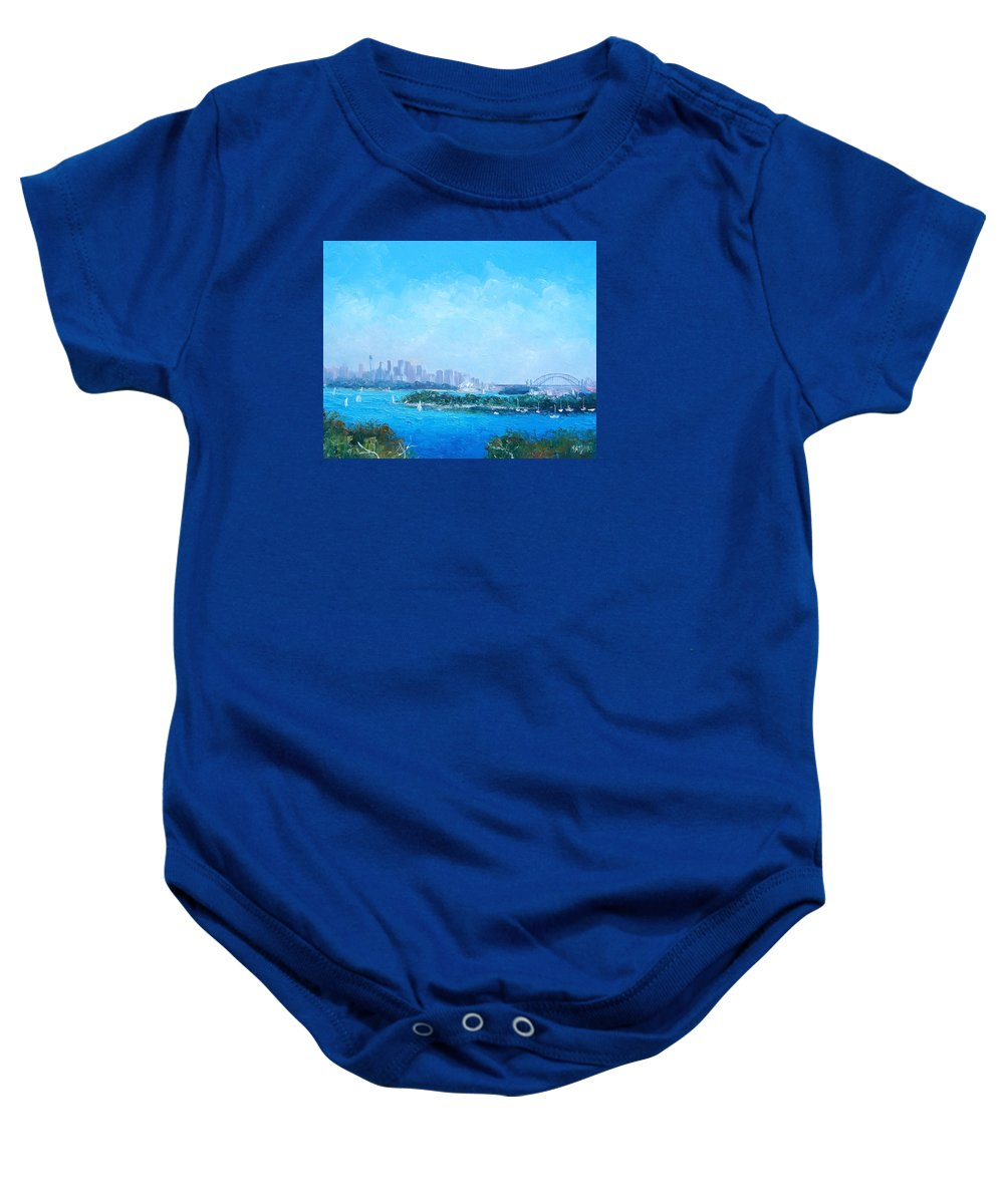 Sydney Harbour Baby Onesie featuring the painting Sydney Harbour And The Opera House Cityscape View by Jan Matson