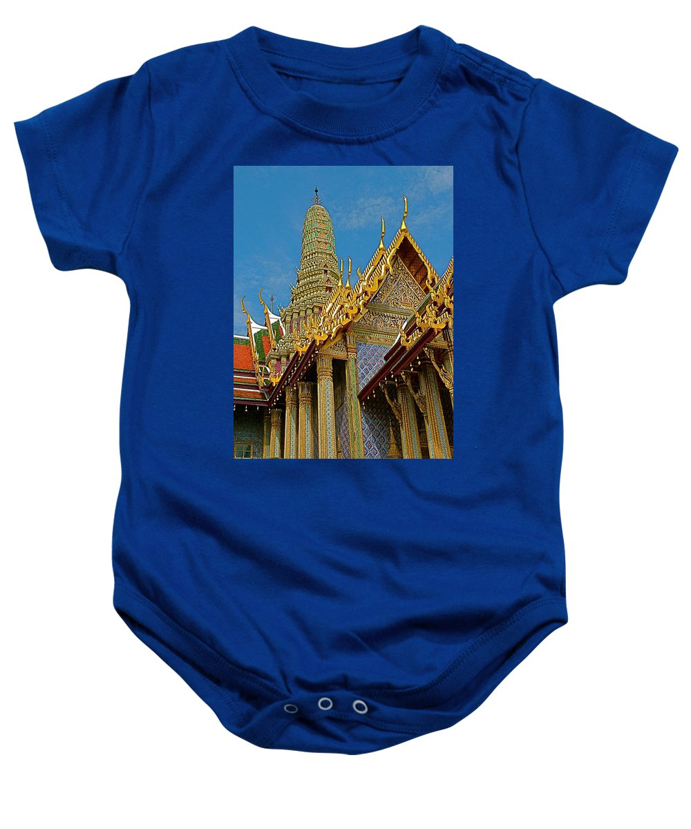 Thai-khmer Pagoda At Grand Palace Of Thailand In Bangkok Baby Onesie featuring the photograph Thai-khmer Pagoda At Grand Palace Of Thailand In Bangkok by Ruth Hager