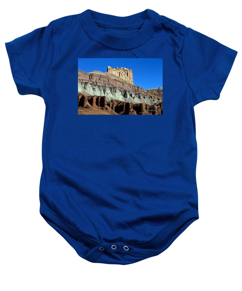 Capitol Reef Baby Onesie featuring the photograph The Castle Capitol Reef National Park Utah by Jason O Watson