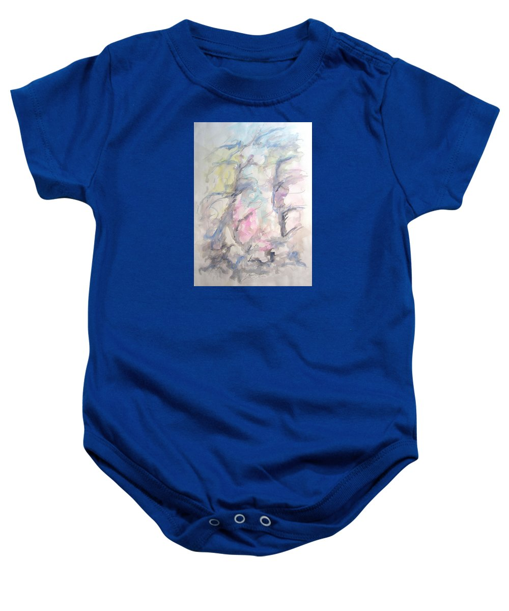 Two Trees In The Wind Baby Onesie featuring the painting Two Trees In The Wind by Esther Newman-Cohen