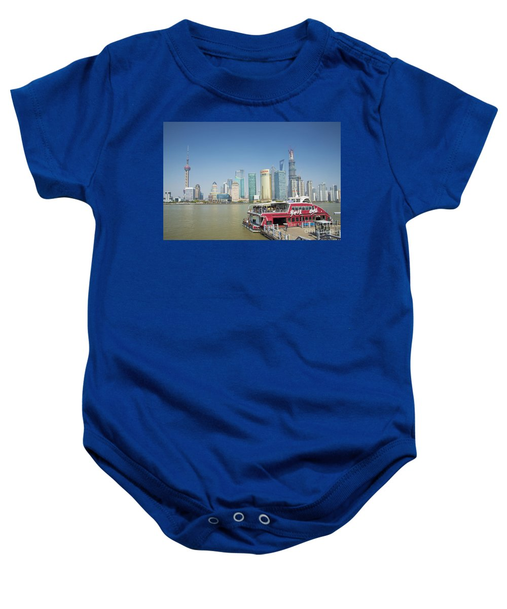 Architecture Baby Onesie featuring the photograph View Of Pudong In Shanghai China by Jacek Malipan