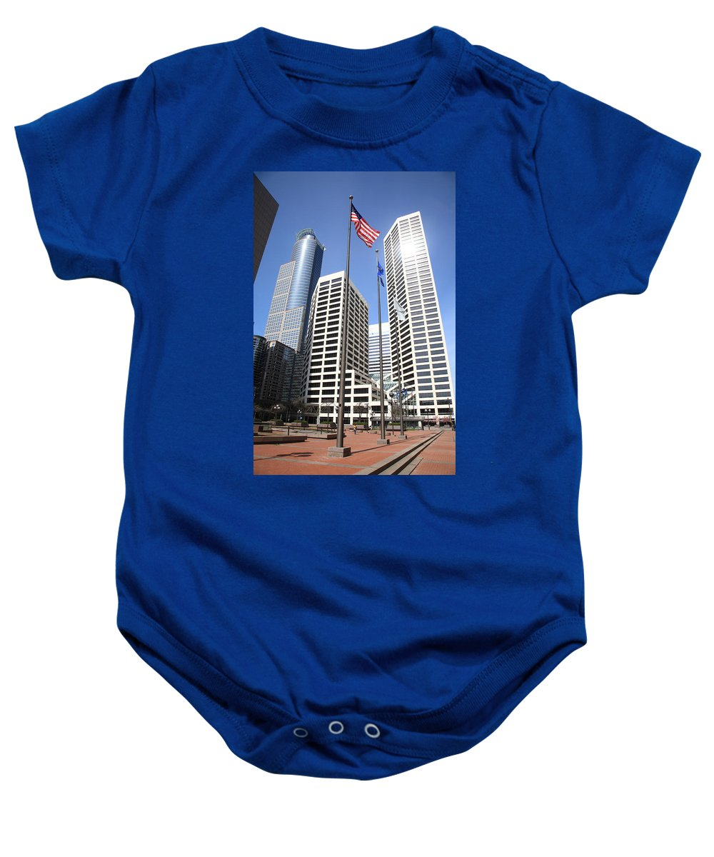 America Baby Onesie featuring the photograph Minneapolis Skyscrapers by Frank Romeo