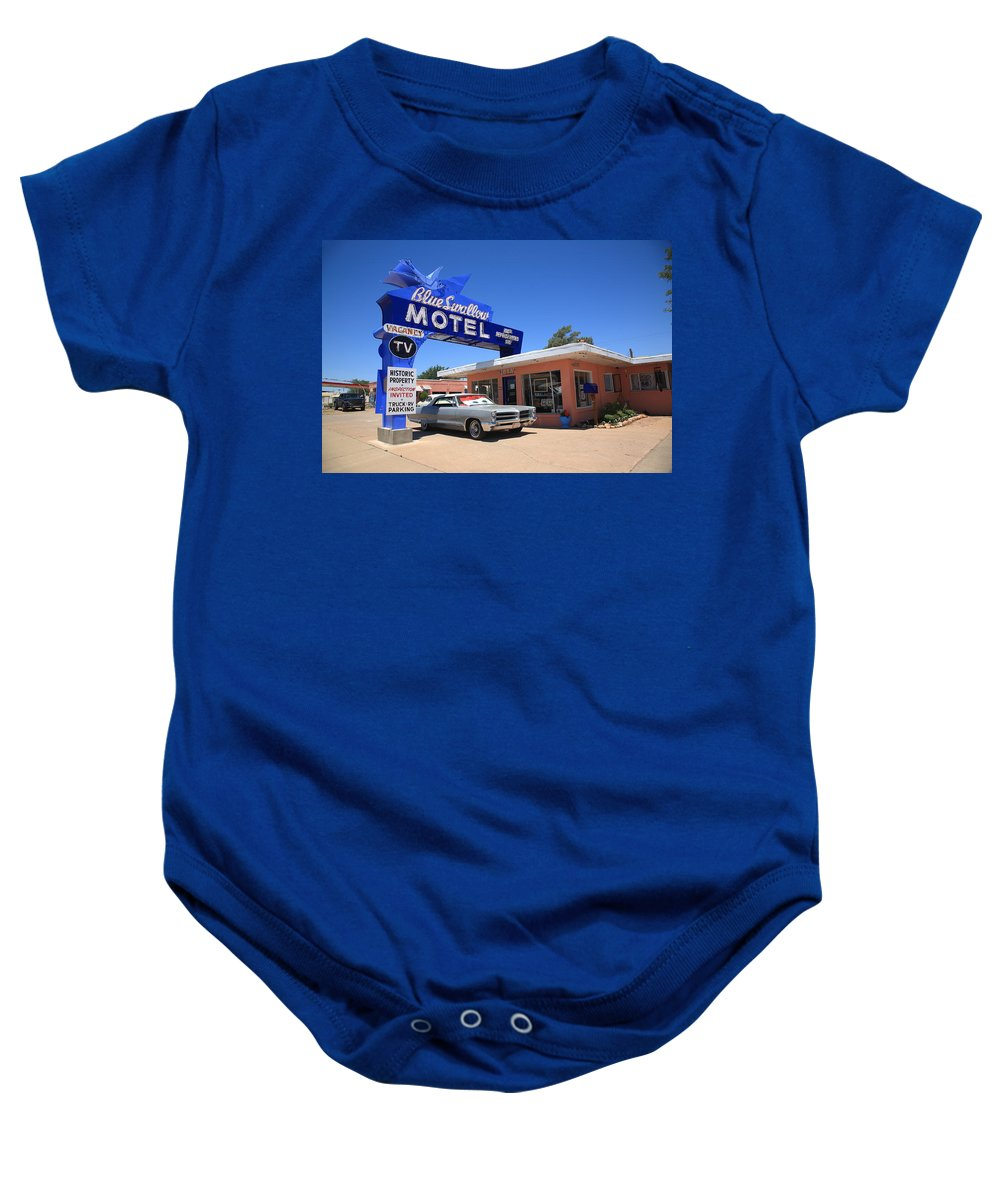 66 Baby Onesie featuring the photograph Route 66 - Blue Swallow Motel by Frank Romeo