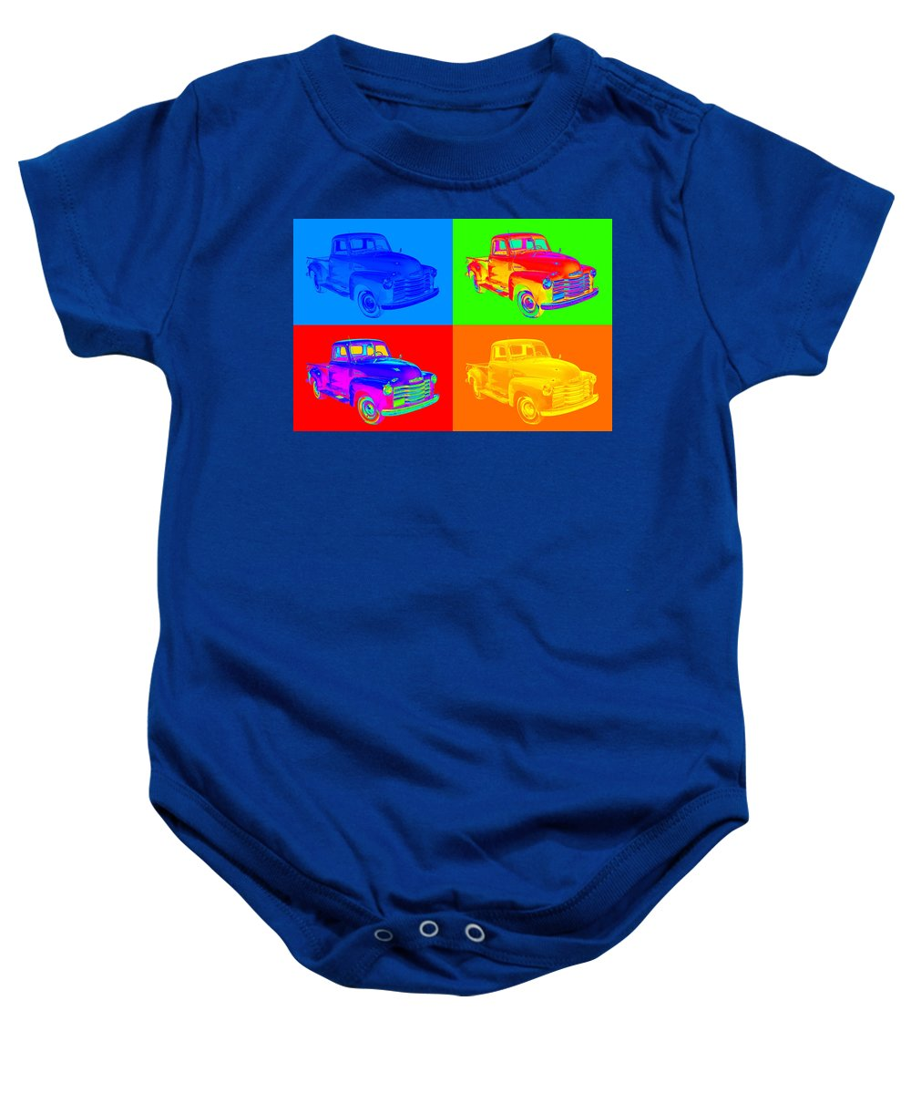 Chevrolet Baby Onesie featuring the photograph 1947 Chevrolet Thriftmaster Pickup Pop Art by Keith Webber Jr
