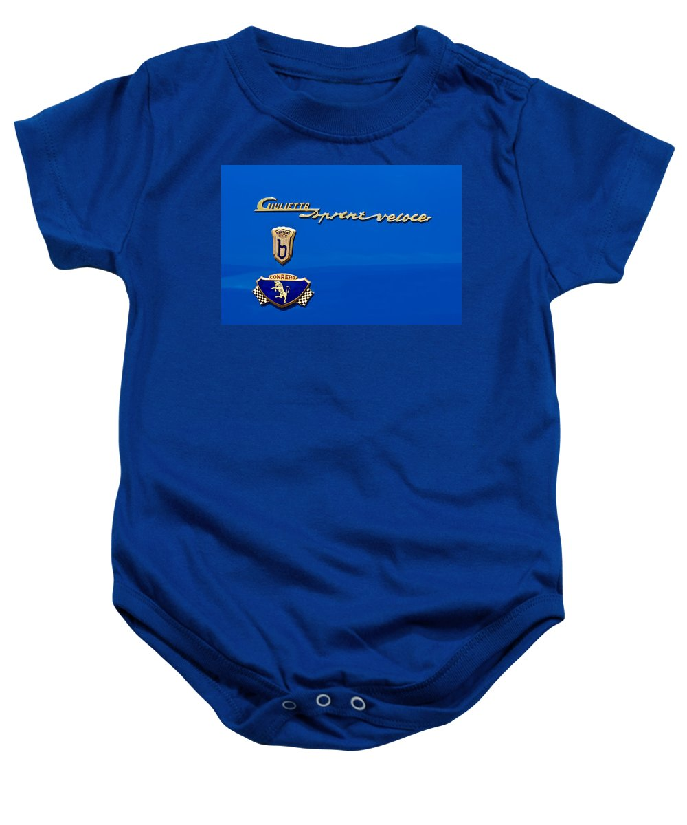 1956 Alfa Romeo Sprint Veloce Coupe Baby Onesie featuring the photograph 1956 Alfa Romeo Sprint Veloce Coupe Emblem by Jill Reger