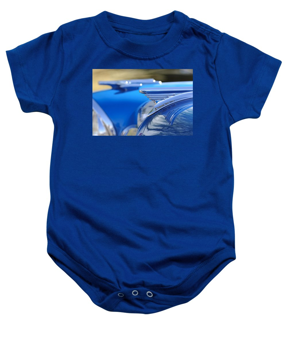 1957 Oldsmobile Baby Onesie featuring the photograph 1957 Oldsmobile Hood Ornament 3 by Jill Reger