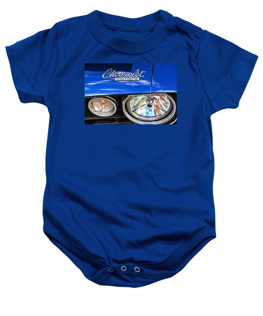 1967 Chevrolet Camaro Ss 350 Headlight Baby Onesie featuring the photograph 1967 Chevrolet Camaro Ss 350 Headlight - Hood Emblem by Jill Reger