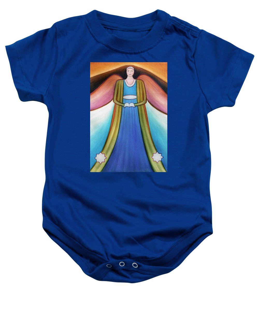 Angel Baby Onesie featuring the painting Angel Of Destiny by Judith Chantler