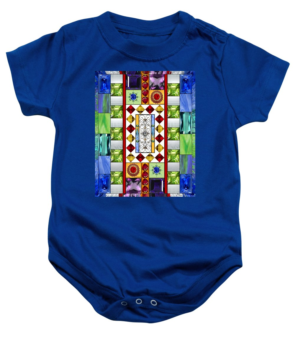 Bejeweled Baby Onesie featuring the mixed media Bejeweled 1 by Ellen Henneke