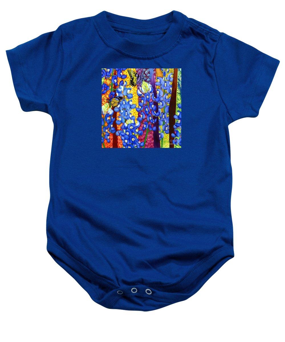 Bluebonnet Baby Onesie featuring the painting Bluebonnet Garden by Hailey E Herrera