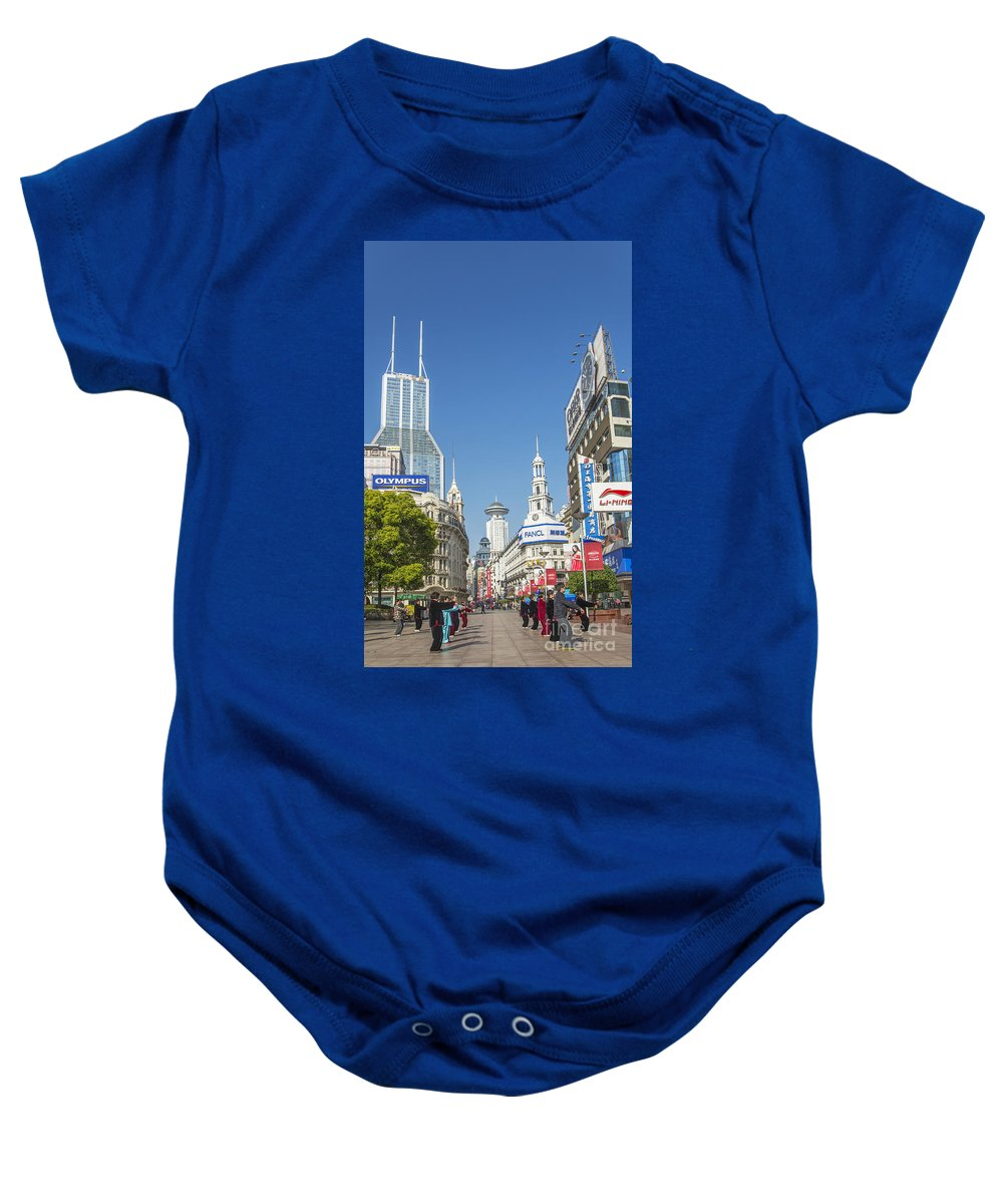 Architecture Baby Onesie featuring the photograph Nanjing Road In Shanghai China by Jacek Malipan