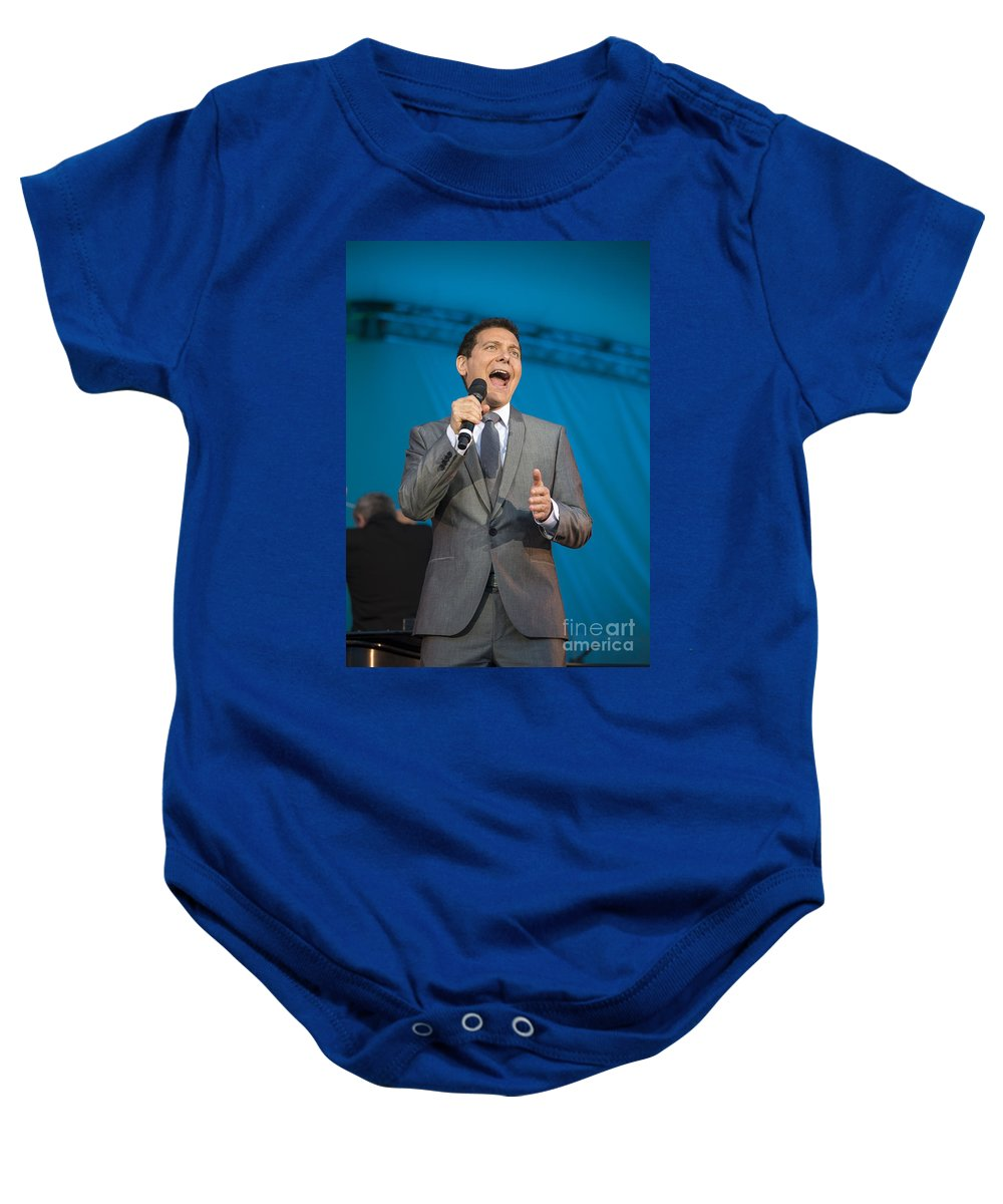 Michael Feinstein Baby Onesie featuring the photograph Singer Michael Feinstein Performing With The Pasadena Pops. by Jamie Pham