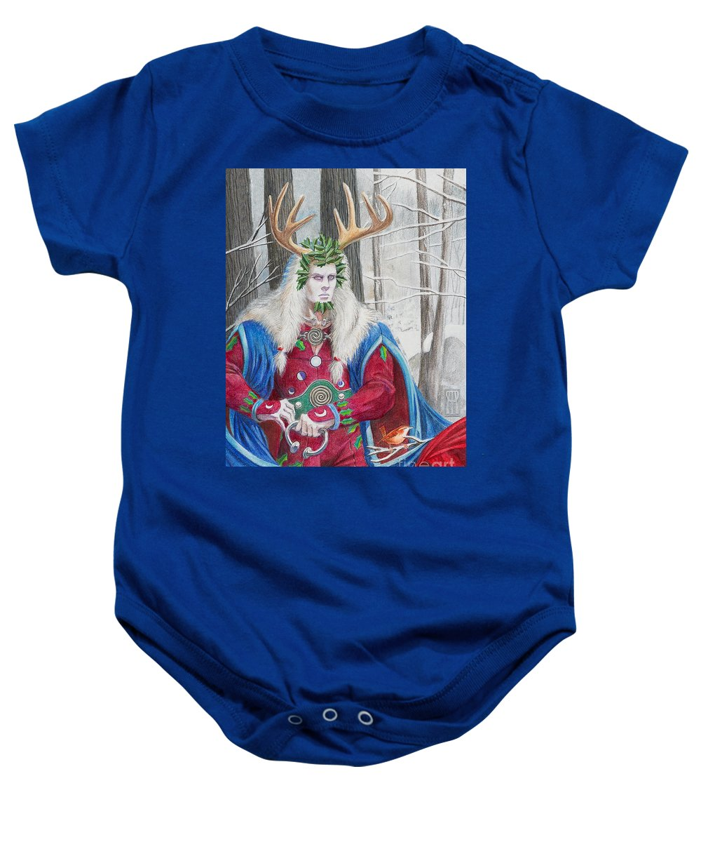 Pagan Baby Onesie featuring the painting The Holly King by Melissa A Benson