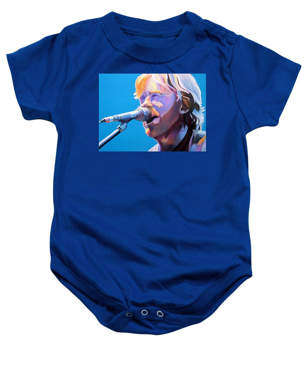 Phish Baby Onesie featuring the drawing Trey Anastasio by Joshua Morton