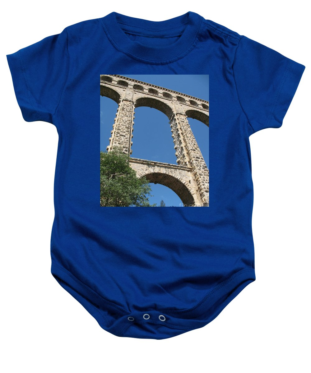 Aqueduct Baby Onesie featuring the photograph Aqueduct Roquefavour by Christiane Schulze Art And Photography