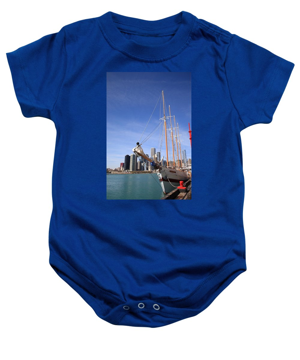 America Baby Onesie featuring the photograph Chicago Skyline And Tall Ship by Frank Romeo