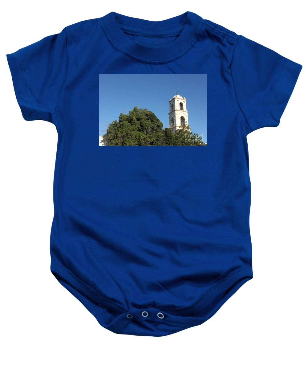 Architectural Baby Onesie featuring the photograph Ojai Post Office Tower by Henrik Lehnerer
