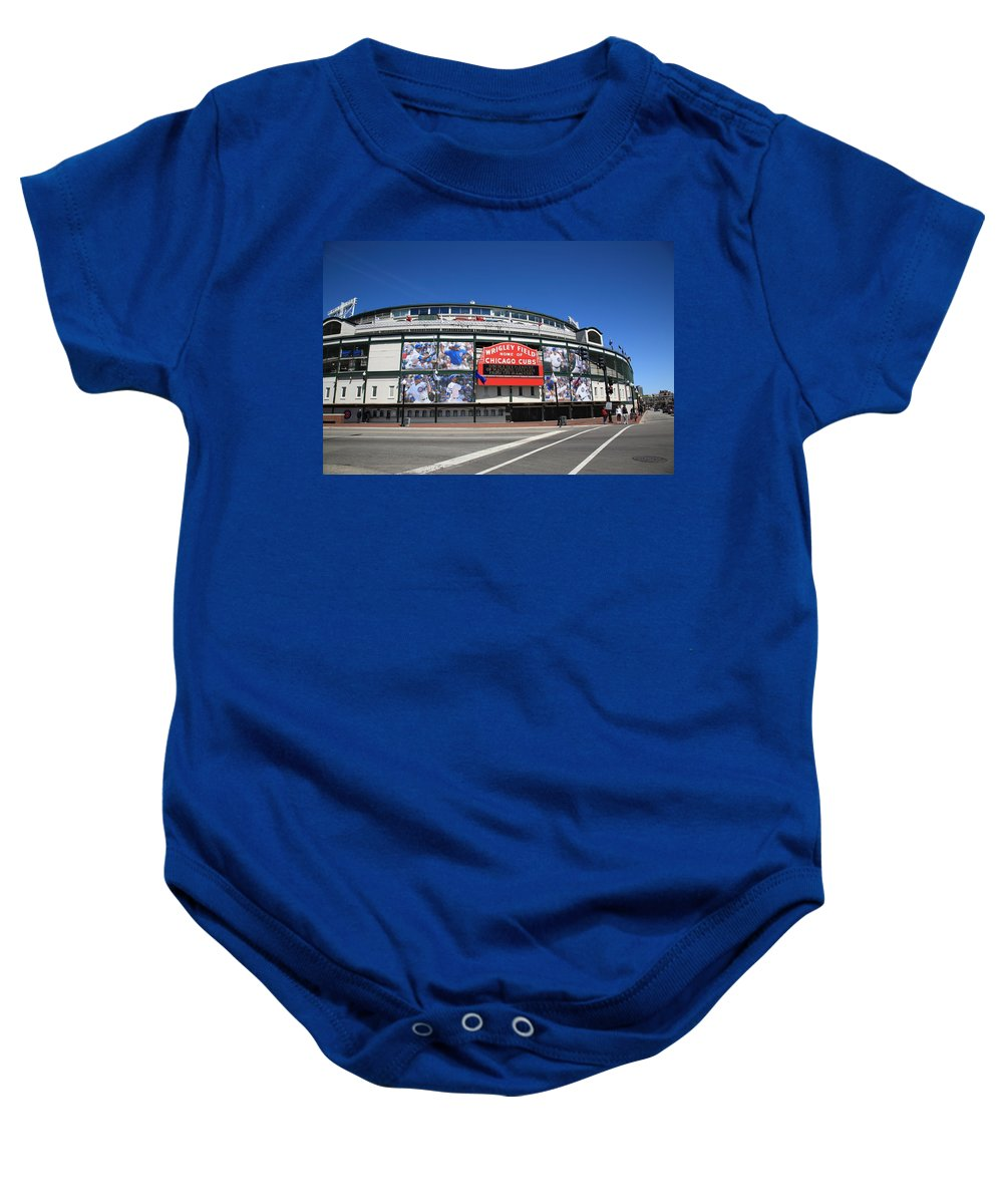 Addison Baby Onesie featuring the photograph Wrigley Field - Chicago Cubs by Frank Romeo