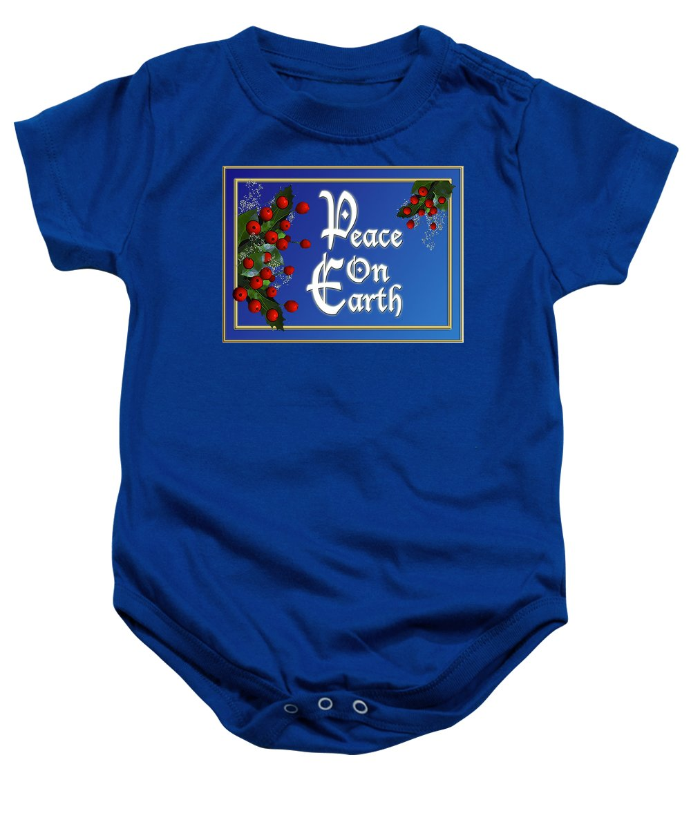 Christmas Baby Onesie featuring the digital art Peace On Earth by Melissa A Benson