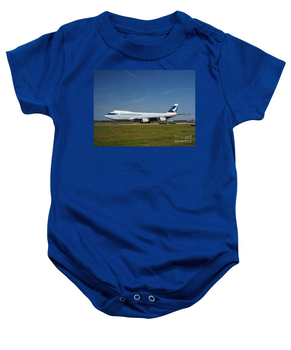 737 Baby Onesie featuring the photograph Cathay Pacific Boeing 747 by Paul Fearn