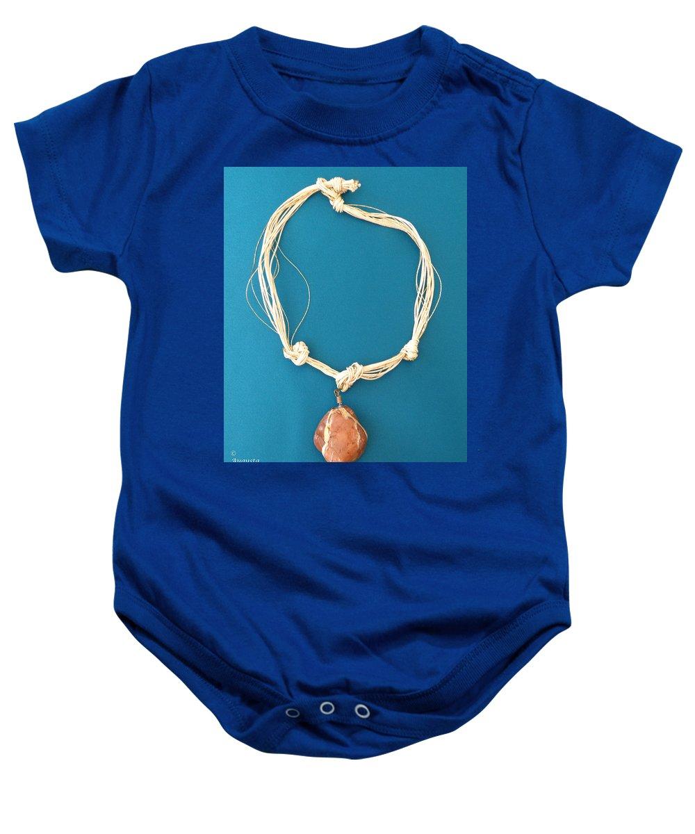 Augusta Stylianou Baby Onesie featuring the jewelry Aphrodite Urania Necklace by Augusta Stylianou