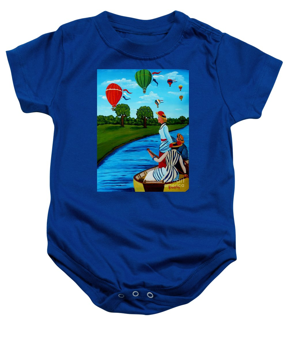 Boat Baby Onesie featuring the painting A Happy Day by Anthony Dunphy