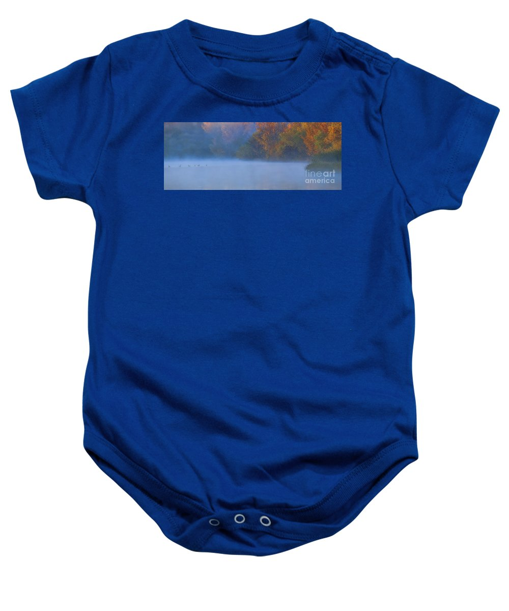Fall Baby Onesie featuring the photograph A Lovely Foggy Morning by Elizabeth Winter
