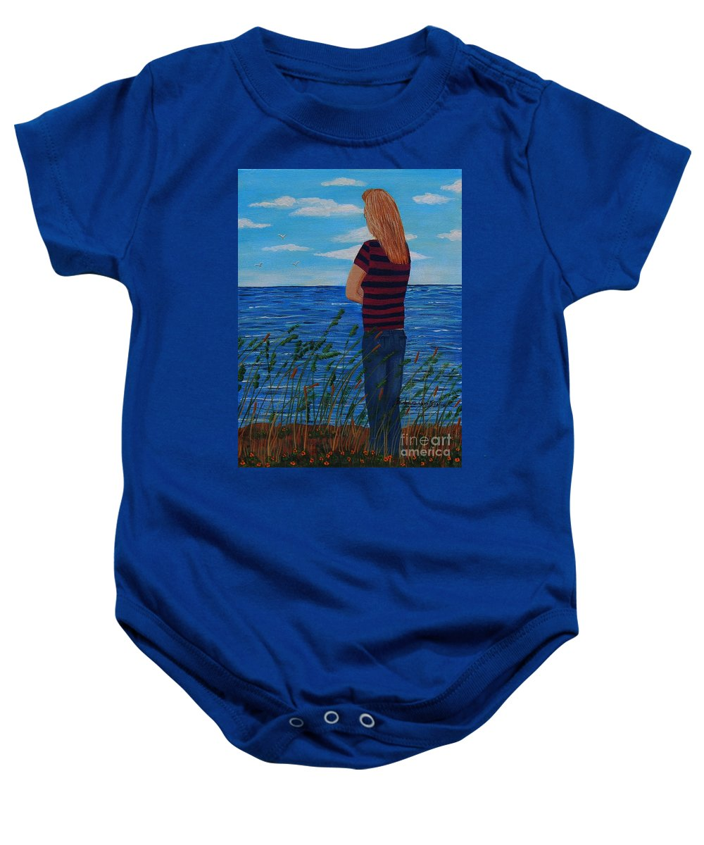 A Young Girl Dreaming Baby Onesie featuring the painting A Young Girl Dreaming by Barbara Griffin