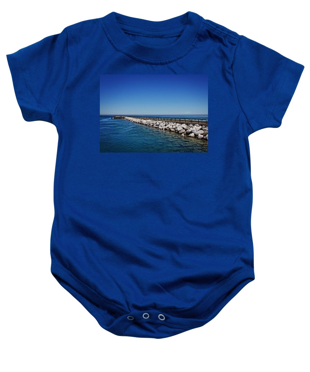 Charlevoix South Pier Lighthouse Baby Onesie featuring the photograph Above And Below by Chris Fleming