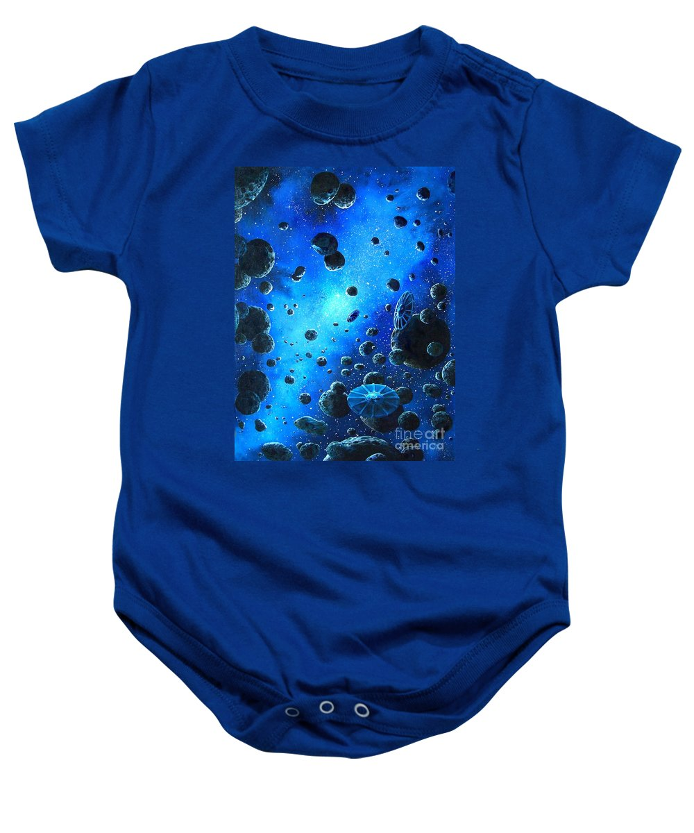 (space Ships) Baby Onesie featuring the painting Alien Flying Saucers by Murphy Elliott