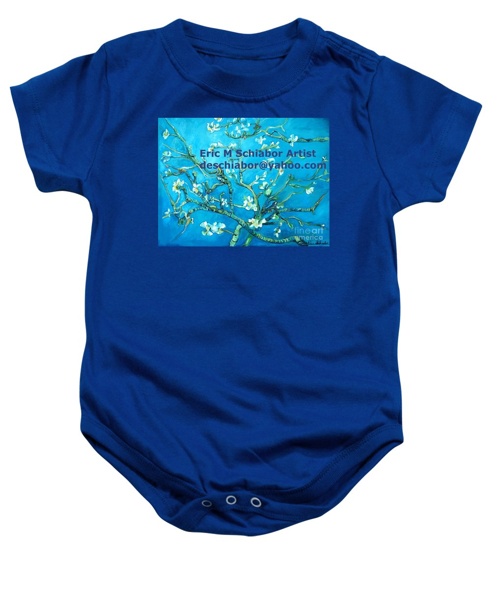 Almond Blossom Van Gogh Baby Onesie featuring the painting Almond Blossom Branches by Eric Schiabor